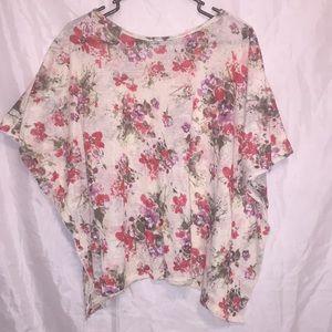 Fun wear factory unique knit floral shirt Sz L🌺